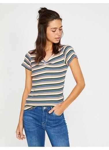 Koton Çizgili T-Shirt Lacivert